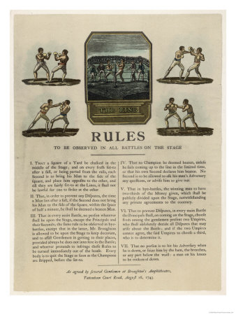 The First Rules of Boxing Published August 16th 1743 Premium Giclee Print
