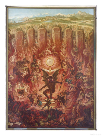 View of Hell featuring the Devil and Demons Premium Giclee Print