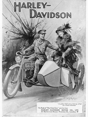 An Advertisement for Harley- Davidson Showing a Soldier Taking His Lady Friend for a Ride Premium Giclee Print