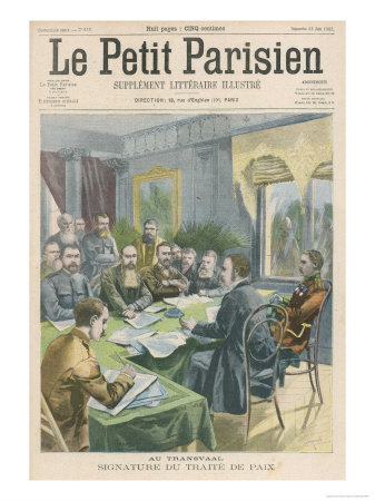 Peace the Peace Treaty is Signed in Pretoria by Christiaan de Wet and Kitchener Premium Giclee Print