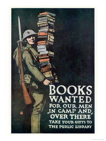 Poster of the American Association of Libraries for Supplying Books to the Troops on Service Premium Giclee Print