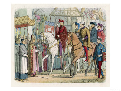 Henry V of England and Charles VI of France Enter Paris after the Treaty of Troyes Giclee Print