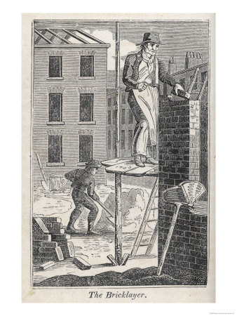 Bricklayer Standing on a Rather Precarious Looking Scaffold, His Assistant Mixes Mortar Behind Him Premium Giclee Print