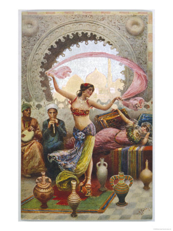 Middle Eastern Belly Dancer Dancing with a Veil to Musical Accompaniment Giclee Print