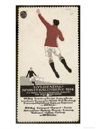 Footballer Leaps for the Ball on a Poster for a Norwegian Sports Calendar Premium Giclee Print