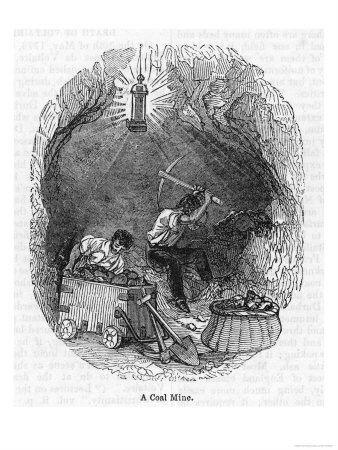 By the Light of a Davy Safety Lamp Two Miners Work at the Coal Face Premium Giclee Print