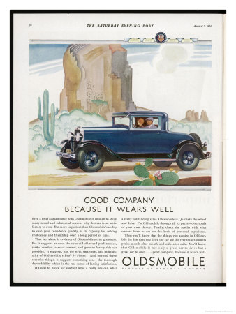 Driving Through the Western Desert in an Oldsmobile, A Great Car to Drive and a Great Car to Own Premium Giclee Print