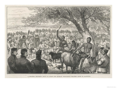 Battalion of Ghurka Soldiers En Route to Burma Offering Sacrifices to Drive Away Cholera Premium Giclee Print