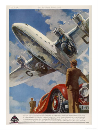 """An Armstrong Whitworth """"Ensign"""" of Imperial Airways Takes Off Premium Giclée-tryk"""