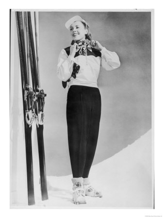 SkIIng Suit with a Wind-Proof Jacket with Lace-Up Front and Contrasting Yoke by Jean Destre Premium Giclee Print
