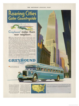 Take the Greyhound Lines to New York Premium Giclee Print