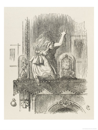 Alice Looking Through the Looking Glass 1 of 2: This Side Premium Giclee Print by John Tenniel