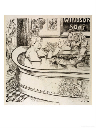 Queen Victoria Cartoon: in Her Bath with John Brown in Attendance Premium Giclee Print by Georges Tiret-Bognet