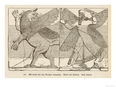 In Ancient Assyria Merodach Does Battle with a Dragon Giclee Print