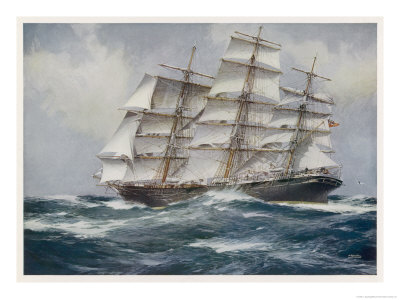 Three-Master Under Sail Premium Giclee Print by J. Spurling
