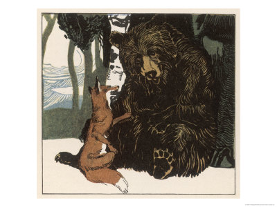 Scene from the Story Showing a Fox in Conversation with the Bear Giclee Print by A Weisgerber