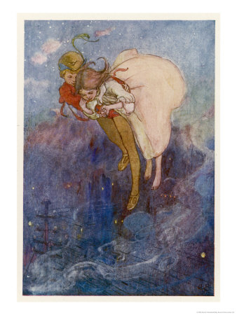 Peter Pan and Wendy Float Away Over the City Premium Giclee Print by Alice B. Woodward