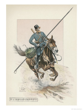 Russian Cossack of the Imperial Guard on Horseback with Lance Premium Giclee Print by L. Vallet