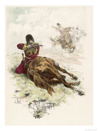 Circassian Soldier of the Czar's Escort Uses His Horse as Cover During a Firefight Premium Giclee Print by L. Vallet