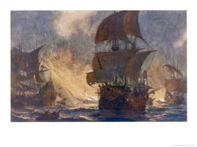 The Spanish Armada the Spanish Fleet is Dispersed by Fireships in the Calais Roads Giclee Print