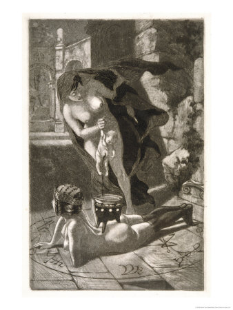 Witch Sacrifices a Child Over the Naked Body of Her Client Giclee Print by Martin Van Maele