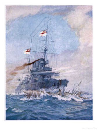 Hms Birmingham Commanded by Captain Arthur Duff Ramming the German Submarine U15 Giclee Print