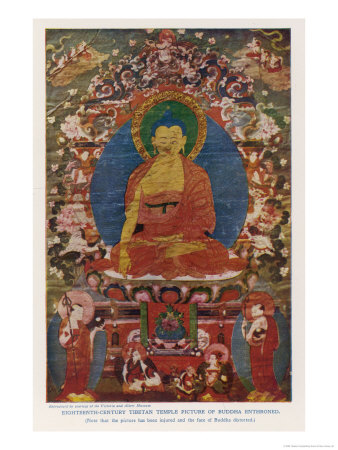 Siddhartha Gautama the Buddha, Eighteenth Century Tibetan Temple Painting reproduction procédé giclée