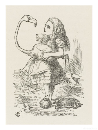 Croquet Alice with the Flamingo Premium Giclee Print by John Tenniel