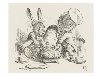 The Hatter's Mad Tea Party the Hatter and the Hare Put the Dormouse in the Tea-Pot Premium Giclee Print by John Tenniel