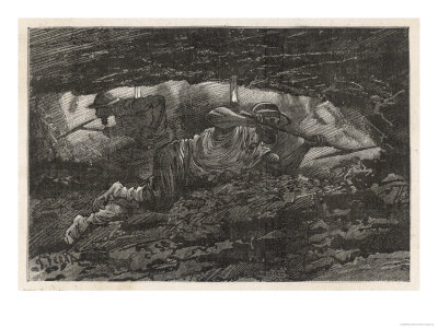 Two Men Mining for Coal Premium Giclee Print