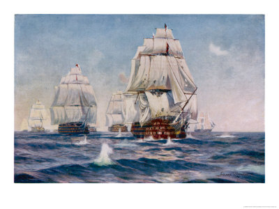 Nelson Sails into Action in His Flagship the Victory Giclee Print