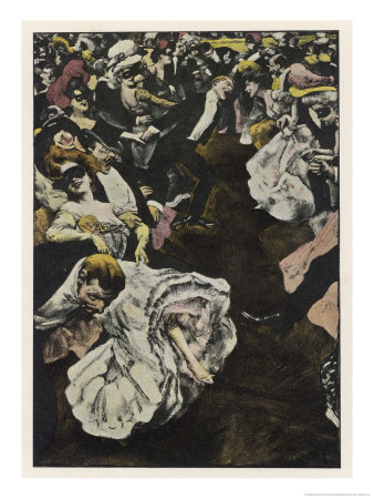 Dancers, Safely Masked, Abandon Themselves to the Fevered Frenzy of the Ball Impresso gicle