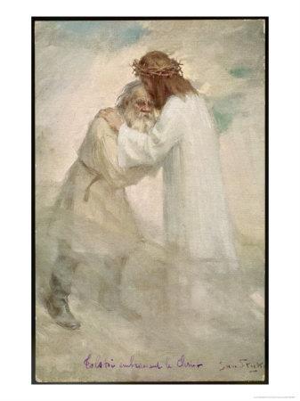 Leo Tolstoy the Russian Novelist Embracing Jesus Premium Giclee Print by Jan Styka