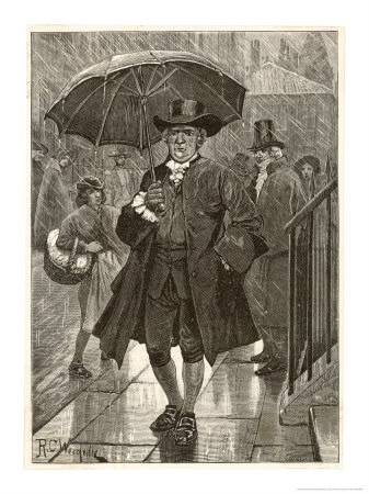Jonas Hanway Pioneers the First Umbrella in London Giclee Print
