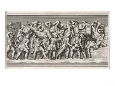 Roman Soldiers Attack a German Town, Casualties on Both Sides Giclee Print