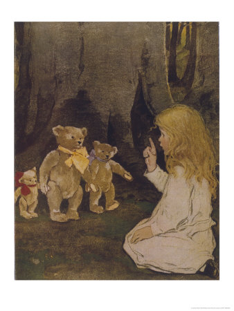Goldilocks Gives Three Teddy Bears a Talking-To Premium Giclee Print by Jessie Willcox-Smith