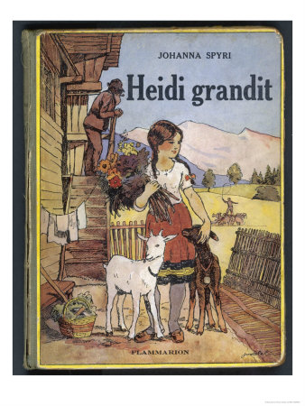 Heidi Holding a Bunch of Flowers and Petting Her Two Goats Premium Giclee Print