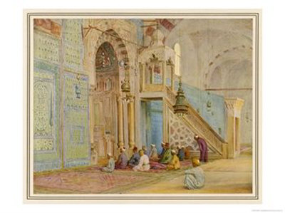 Moslems at Prayer in the Blue Mosque Cairo Giclee Print