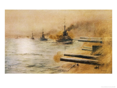 The British Second Division of Battleships Fire on the Germans at the Battle of Jutland Premium Giclee Print by William Lionel Wyllie
