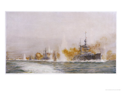 """Hms """"Lion"""" Leads the Battle- Cruisers into the Fray at the Battle of Jutland Premium Giclee Print by William Lionel Wyllie"""
