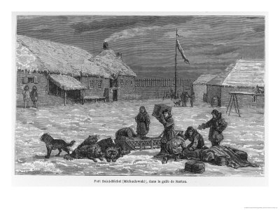Loading Goods onto a Dog Sledge at Fort St. Michael (Formerly Michaelowski) in Norton Gulf Alaska Giclee Print by Frederick Whymper
