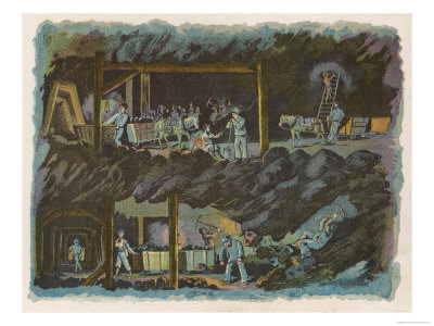 The Workings of a Mine Showing Miners at the Coal Face and the Coal Being Transported by Pony Giclee Print