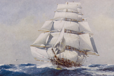 Clipper Under Full Sail Premium Giclee Print by J. Spurling