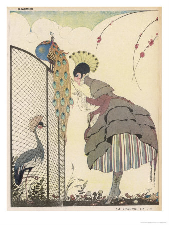 Satire on the Fashion for Voluminous Short Skirts and Use of Antique Styles Premium Giclee Print by Gerda Wegener