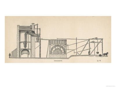 Diagram Showing the Use of a Steam Engine in a Coal Mine Giclee Print