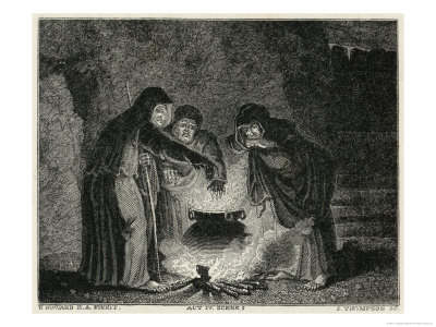 Macbeth, Act IV Scene I: The Witches in Their Cavern Gathered Around the Boiling Cauldron Giclee Print by J. Thompson