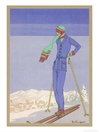 She Pauses Before Embarking on the Piste in Her Elegant Ski Costume Premium Giclee Print by  Zeilinger