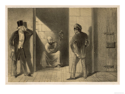 Mental Patient Confined in a Strait-Jacket is Chained Barefoot in a Small Bare Cell Giclee Print