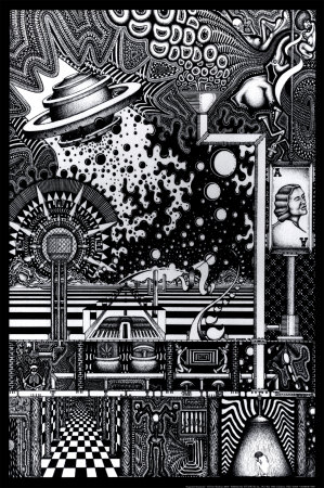 Acquired awareness psychedelic black and white trippy poster by Chris Sheehan