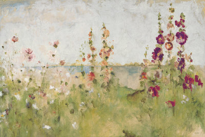 Hollyhocks by the Sea Kunsttryk